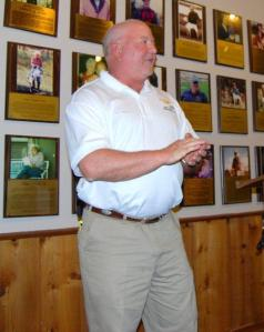 Brad Kennedy, Sunshine Dog Food Company representative, during presentation.